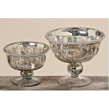 Декоративная миска Дион лакированное серебряное стекло d19 h16cm