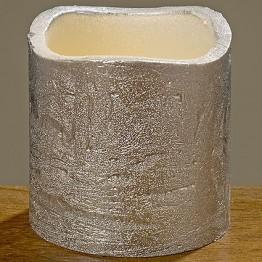 Светодиодная свеча Виргиния серебряный воск h5d5см