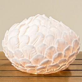 Лампа Перо белая полистоун d28см