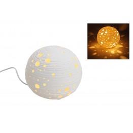 Настольная лампа сфера белый керамика 21см