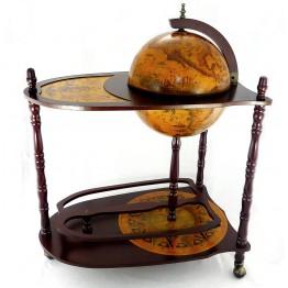 Напольный глобус бар со столиком 33см, 3 ножки, коричневый