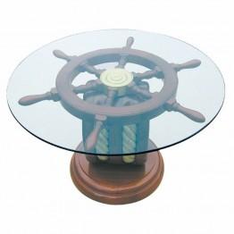 Стеклянный стол, штурвал, морская тема, Ø: 65cm