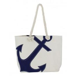 Пляжная сумка в морском стиле  с якорной печатью