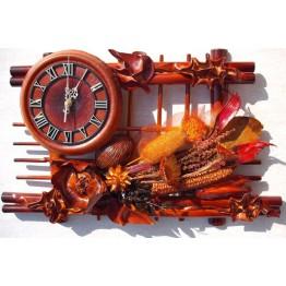 Часы из натуральной кожи и бамбука-Сухоцветия