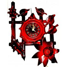 Часы из натуральной кожи и бамбука-Цветок
