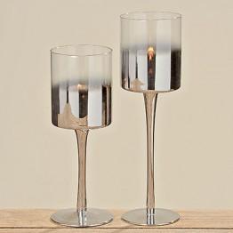 Подсвечник Грация серебряное стекло h25см