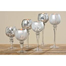 Подсвечник Мина серебряное стекло h30см