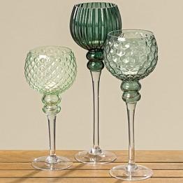 Подсвечник Тайо зеленое лакированное стекло h30см