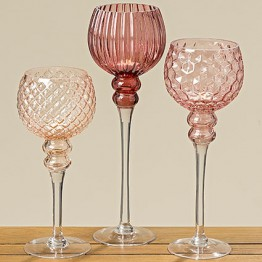 Подсвечник Тайо розовое лакированное стекло h35см