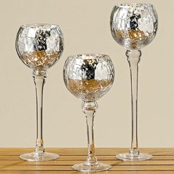 Подсвечник Manos серебряное стекло h30см