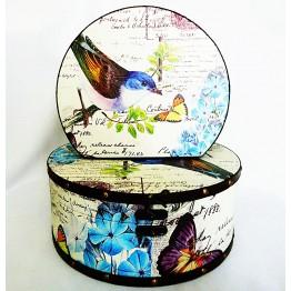 Шкатулка круглая набор из 2-х – Птица